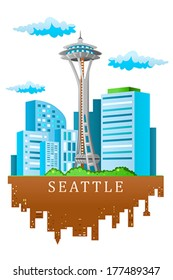 A vector illustration of Seattle skyline in cartoon style