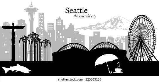 Vector illustration of the Seattle, Washington, skyline/cityscape in black and white with city icons
