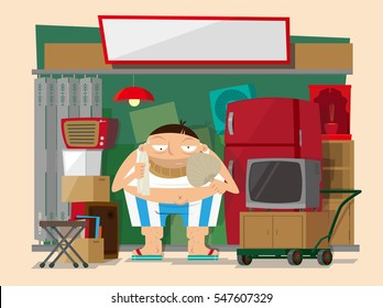Vector illustration of second-hand goods stall keeper in Hong Kong