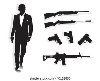 Vector illustration of secret agent with his weapons