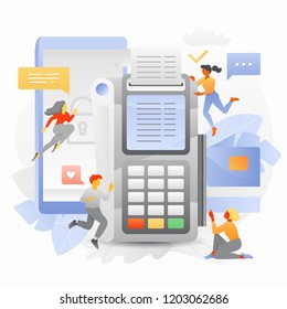 Vector illustration of secure online transaction with tiny people surrounding big mobile phone, shield and pos-terminal.