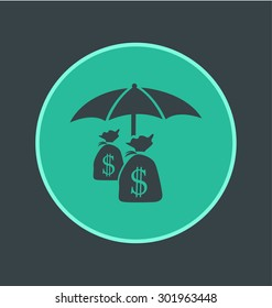 Vector illustration of secure payment icon, flat round icon