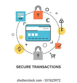 Vector illustration of secure transaction flat line design concept