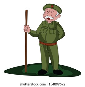 Vector illustration of a security guard holding wooden stick.