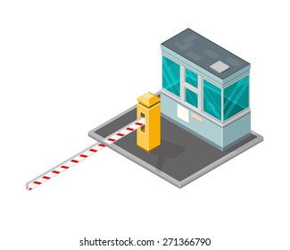 A vector illustration of a security kiosk with barrier. Security check point illustration. Isometric building Security check.
