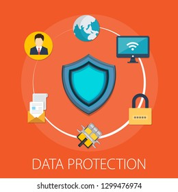 "Vector illustration of security & protection concept with ""data protection"" information technology icon."