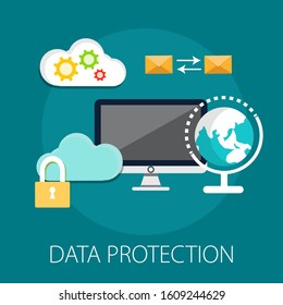 Vector illustration of security and protection concept with