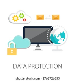 Vector illustration of security & protection concept with
