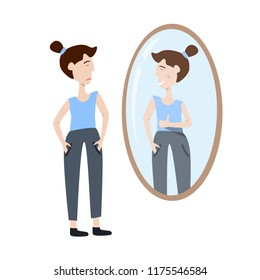 Vector illustration of self acceptance. Young woman watching at her reflection in the mirror showing the thumb