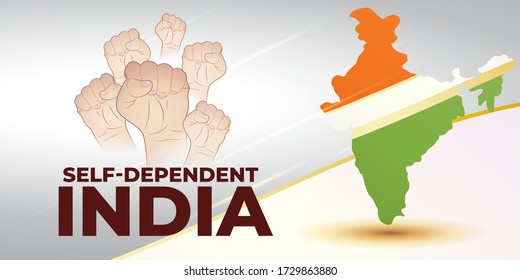 VECTOR ILLUSTRATION FOR SELF DEPENDENT INDIA, ILLUSTRATION IS  SHOWING INDIAN MAP WITH UNITY HANDS ON INDIAN FLAG BACKGROUND