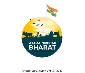 vector illustration for self dependent India with text atma nirbhar bharat means  self dependent India
