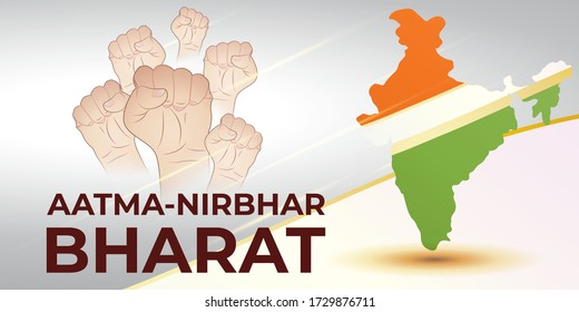 VECTOR ILLUSTRATION FOR SELF DEPENDENT INDIA,WITH HINDI TEXT AATMA NIRBHAR BHARAT MEANS SELF DEPENDENT INDIA, ILLUSTRATION IS  SHOWING INDIAN MAP WITH UNITY HANDS ON INDIAN FLAG BACKGROUND