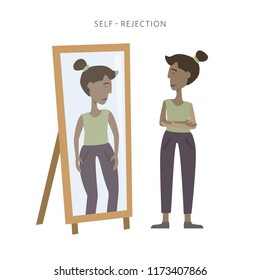 Vector illustration of self rejection and self acceptance. Young woman in depression watching disappointed at her reflection in the mirror