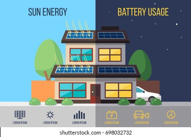 Vector illustration of self-sufficient house with solar panels on the roof. Flat style.
