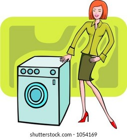 A vector illustration of a selling red-haired girl looking at a washing machine.  Also can be used for a shopping girl.