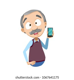 Vector illustration of senior aged male character holding smartphone. Granddad showing mobile phone and smiling. Isolated on white background. Flat style
