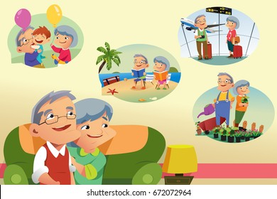 A vector illustration of Senior Couple Thinking About Retirement Activities