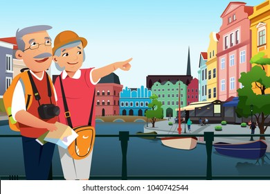 A vector illustration of Senior Couple Traveling After Retirement