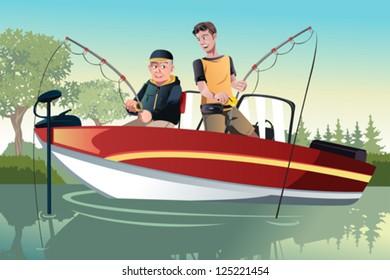 A vector illustration of a senior father and his adult son going fishing on a boat
