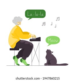 Vector illustration of a senior female musician playing piano and singing enjoying her leisure time. An old happy lady singer and a cute cat meowing. Active retirement. Private lesson. Music teacher