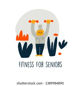 Vector illustration of senior lady, doing exercise with dumbells. Cartoon character. Senior fitnes concept