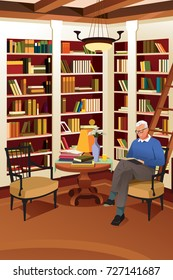 A vector illustration of Senior Man Reading a Book in the Library