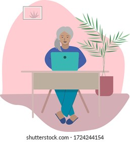 Vector illustration of senior woman making videocall or working on the computer