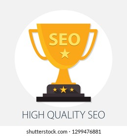 """Vector illustration of seo & internet optimization concept with """"HIGH QUALITY SEO"""" website development concept. seo icon."""