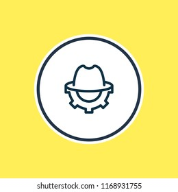 Vector illustration of SEO whitehat icon line. Beautiful marketing element also can be used as trilby with cogwheel icon element.