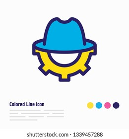 Vector illustration of SEO whitehat icon colored line. Beautiful advertising element also can be used as trilby with cogwheel icon element.