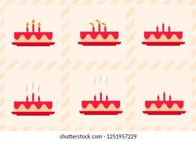vector illustration sequence of putting out candles and birthday's cake