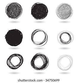 Vector - Illustration of a series of pencil drawn graffiti circles