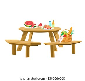 Vector illustration of served picnic table isolated on white. Picnic basket, watermelon with slices, sandwiches, water, lemonade. Round wooden table with benches.