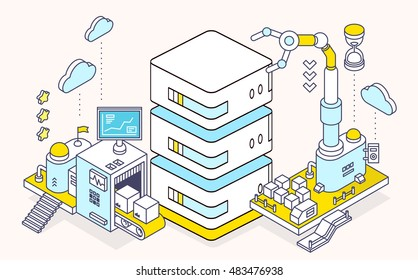 Vector illustration of server and three dimensional mechanism with conveyor and robotic hand on light background. Data center computing, configuration and maintenance. 3d thin line art style design