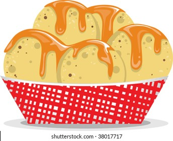 a vector illustration of a serving of nacho chips with dip