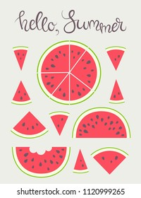 Vector illustration: set of 11 red cone, semicircle and circle flat watermelon pieces icons with black seeds, green peel and tooth bite with calligraphic lettering isolated on creamy background
