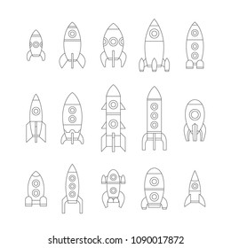 Vector illustration: Set of 15 black linear icons with different rocket ships isolated on white background. Project start up and development process. Innovation product and management.