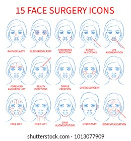 Vector illustration: set of 15 blue contour hand drawn black woman face plastic surgery icons isolated on white background