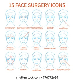 Vector illustration: set of 15 blue contour hand drawn asian female face plastic surgery icons isolated on white background