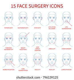 Vector illustration: set of 15 blue contour hand drawn european male face plastic surgery icons isolated on white background