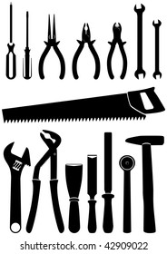 Vector illustration set of 15 different hand tools. All objects and details are isolated and grouped. Each tool has a transparent background. Colors are easy to adjust or customize.