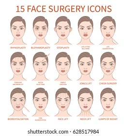 Vector illustration: set of 15 face plastic surgery operations demonstrated on european woman face isolated on white background.