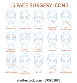 Vector illustration: set of 15 hand drawn face plastic surgery icons isolated on white background.