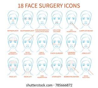 Vector illustration: set of 18 blue contour hand drawn asian female face plastic surgery icons isolated on white background