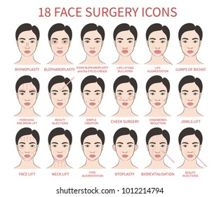 Vector illustration: set of 18 colored hand drawn asian female face plastic surgery icons isolated on white background