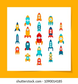 Vector illustration: Set of 19 bright flat icons with different rocket ships isolated on white background. Project start up and development process. Innovation product and management.