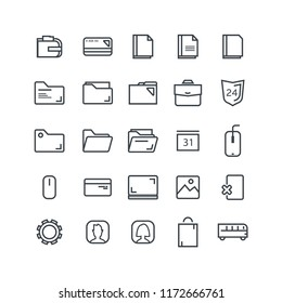 Vector illustration. Set of 25 Modern thin line icons in flat style. OFFICE. For business production, devices,  logo, web, etc.