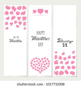Vector illustration: a set of 3 white banners with pink heart icons and hand drawn lettering inscriptions isolated on creamy background for Valentine's day or wedding design.