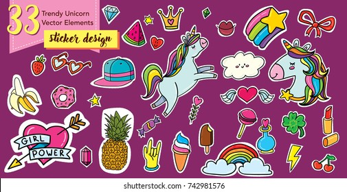 "Vector illustration set of 33 hand drawn doodle trendy hipster unicorn elements. Patch, sticker, badge, pin design with feminism teenager symbols (heart with sign ""Girl power"")"