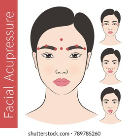 Vector illustration: set of 4 asian female  faces with acupressure massage  points instruction isolated on white background.